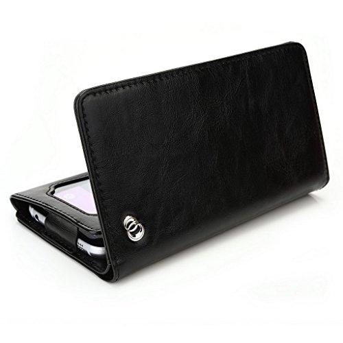 Kroo Portefeuille unisexe avec Acer Liquid Jade Z ajustement universel différentes couleurs disponibles avec affichage écran Gris - gris noir - noir