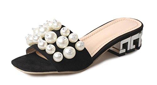 Place avec des sandales à bout ouvert et pantoufles perle d'été à la mode avec les sandales faites glisser des mots femmes Black