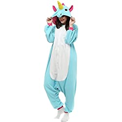 Missley Adulto Unisex Flanela Unicornio Cartoon Animal Novedad Halloween Pijama Cosplay (S, Blue)