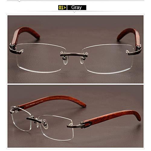 YMTP Holz Tempel Beine Männer Business Brillengestell Optische Brillen Brille Randlose Brillen Für Mann
