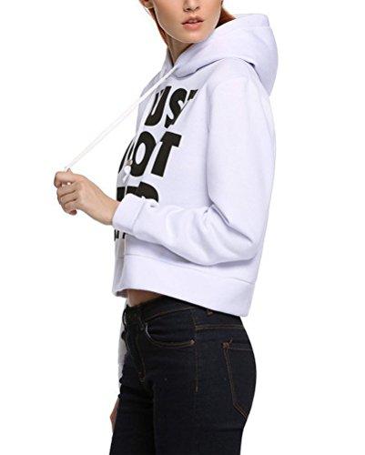 Brinny Femme Manches longue Top courtes impression vest molleton à capuche Blanc