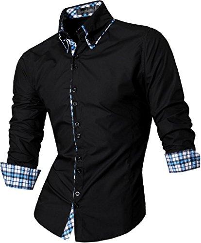 Jeansian Homme Chemises Casual Manches Longues Mode Men Tops Trend Fashion Slim Fit Shirt Z023 Black