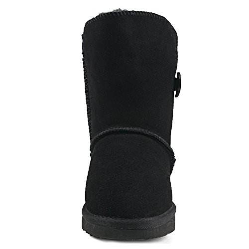Shenduo - Bottes de neige femme cuir(daim), Boots fourrées Classiques Mi-mollet doublure chaude DA5803 Noir
