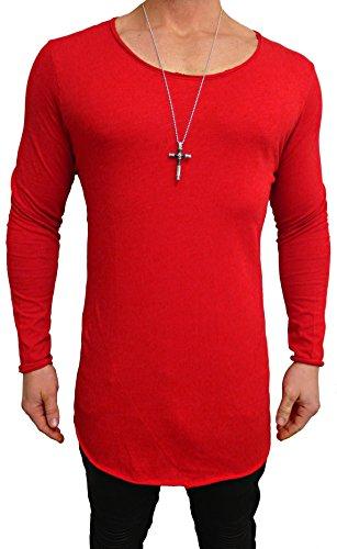 Oversize Longsleeve Long Shirt Deep Longshirt Rot Swag Herren Strick pullover Sweatshirt NEU skater hip hop Sweat Jacke langes m Kapuzenpullover Sweatjacke weiß u schwarz Pulli Rot
