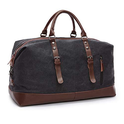 SHS Segeltuch Reisetasche,Vintage Canvas Handgepäck Tasche für Damen Herren,Urlaub Weekender Tasche Travel Bags Reise Duffel Bag mit der Großen Kapazität (Schwarz)