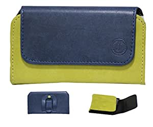 Jo Jo A4 Nillofer Belt Case Mobile Leather Carry Pouch Holder Cover Clip For Xolo Q1011 Dark Blue Parrort Green