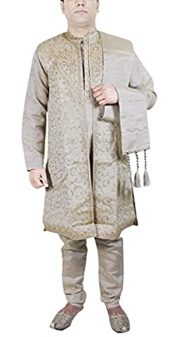 Traditional Kurta Pajama Mens 4-Pieces Set Ethnic Men Wear Wedding Dress -M