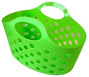PACK of 4 Flexible Plastic Storage Baskets LIME GREEN (Craft/Toy Containers)