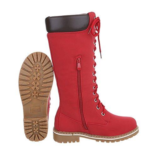 Ital-Design Schnürstiefel Damenschuhe Schnürstiefel Blockabsatz Warm Gefütterte Reißverschluss Stiefel Rot PE106