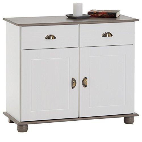 IDIMEX Apothekerkommode Anrichte Colmar, Kiefer massiv weiß/Taupe mit 2 Schubladen und 2 Türen inklusive 1...