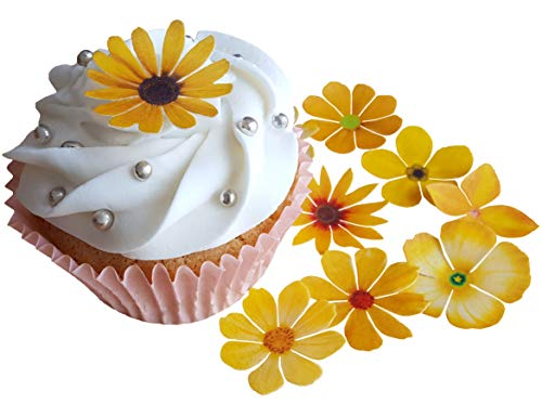 it schönen gelben Blumen aus vorgeschnittenem, essbaren Reis-, Oblatenpapier. Dekoration für Cupcakes, Kuchen, Desserts. Für Geburtstagspartys, Hochzeiten, Babypartys., Flowers ()