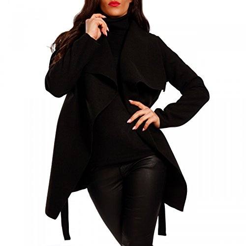 Damen Kurzmantel Eleganter Mantel mit großem Kragen Schwarz