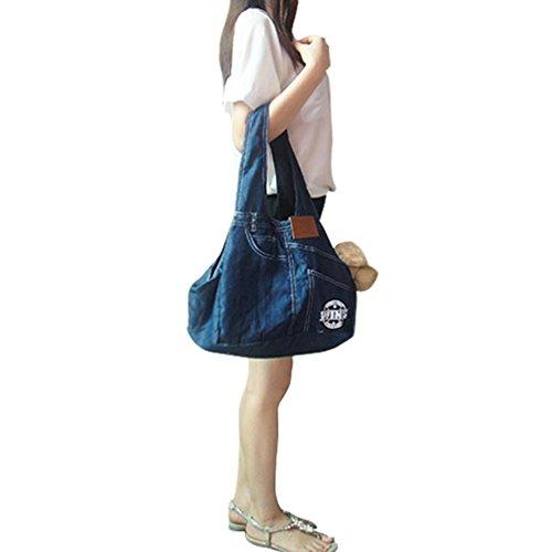 SAMGOO Mode komfortabel Licht Denim Haustier Tasche Hundetasche Pet Rucksack Umhängetasche Messenger Bag für klein Haustier Katze Hunde Welpen (marineblau)