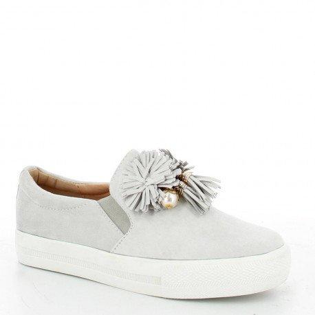 Ideal Shoes - Slip-on effet daim avec franges Maelys Gris