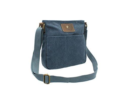 CACTUS tela e Distressed Leather Messenger Bag oliato CL810_81 Viola Denim