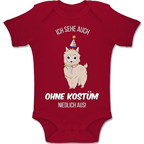 Lama Kostüm Für 2 - Shirtracer Karneval und Fasching Baby - Ich Sehe auch ohne Kostüm niedlich aus Lama - 1-3 Monate - Rot - BZ10 - Baby Body Kurzarm Jungen Mädchen