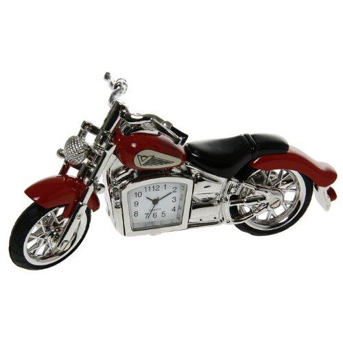 NEUE ROTE MOTORRAD-MINI-NEUHEITS-DESKTOP-UHR (MÄNNER-GESCHENK) HARLEY-ART-FAHRRAD (Harley Motorrad Uhr)