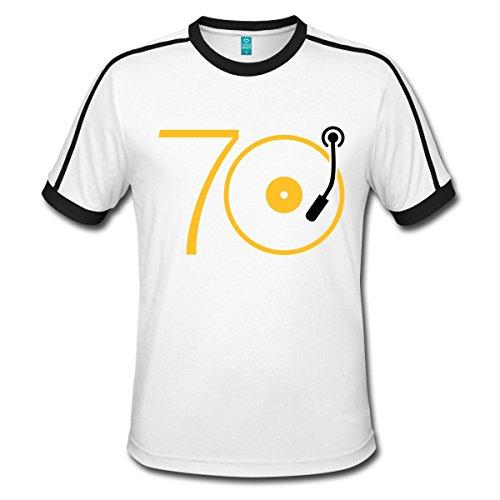 Spreadshirt Musik Der 70er Platte Retro Männer Retro-T-Shirt, L, Weiß/Schwarz