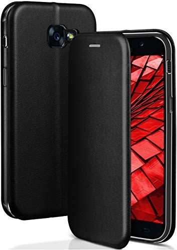 OneFlow® Premium Booklet mit unsichtbarem Magnetverschluss + Aufstellfunktion kompatibel mit Samsung Galaxy A5 (2017) | Exklusive Lederoptik, Schwarz