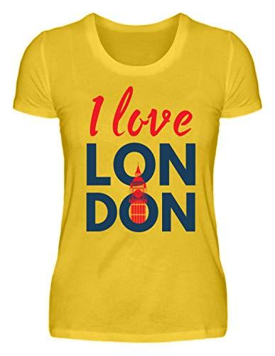 I Love London - Union Jack - Geschenkidee - England - Städtereise - Auslandsjahr - Tourist - Damenshirt -XXL-Leuchtgelb