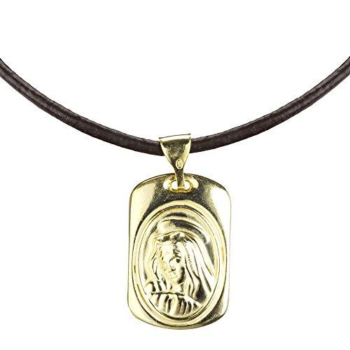 Córdoba Jewels | Gargantilla en Plata de Ley 925 bañada en Oro con Medalla Virgen de la Inmaculada Cuero