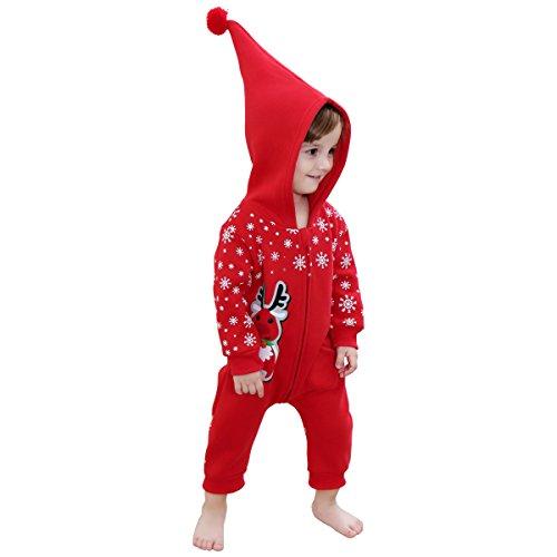 Bebone Bebe Pelele para Navidad Bodies Monos con Capucha(rojo,9-12m)