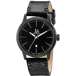 Joshua & Sons Hombres JS86BK Negro Cuarzo Reloj de pulsera con esfera negra y correa de piel negra por Joshua & Sons