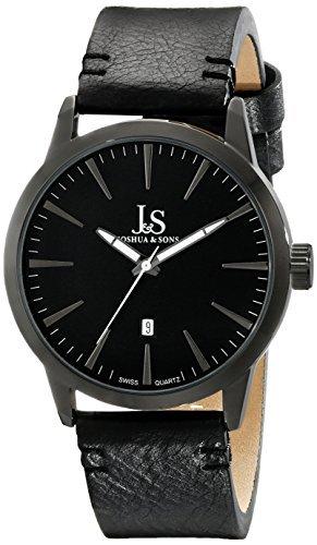 Joshua & Sons uomo JS86BK nero orologio al quarzo con quadrante nero e cinturino in pelle nera di Joshua & Sons