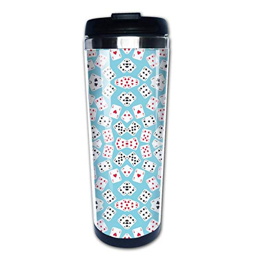 in Wonderland Playing Cards Stainless Steel Coffee Tumbler Insulated Thermos Cup Travel Mug 16 Oz Sip-top