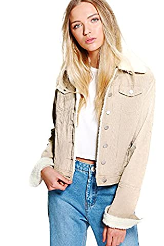 Stone Womens Sally Slim Fit Borg Collar Cord Jacket - 6