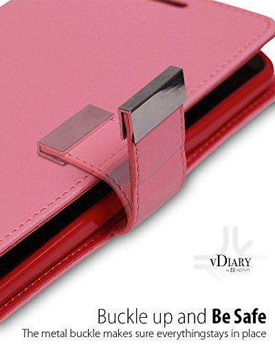 iPhone 8 / 7 Portefeuille coque, Vena [vDiary] PU portefeuille cuir case couverture avec carte poche fente Wallet pour Apple iPhone 8 / 7 (Noir) Rose