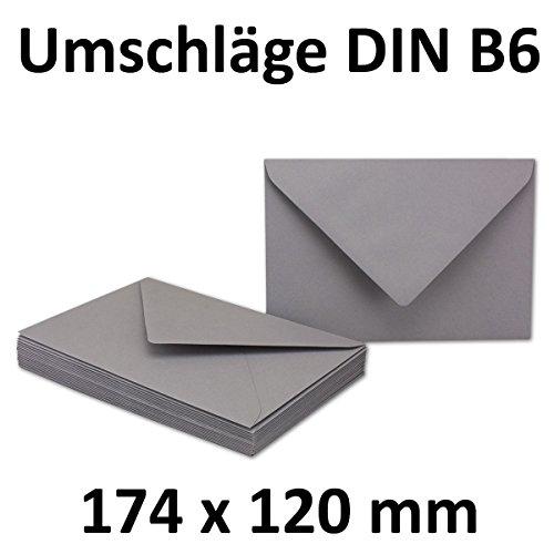 25x DIN B6 Briefumschläge // Graphit // Dunkelgrau // 174 x 119 mm // 110 g/m² // Nassklebung - Qualitätsmarke: GUSTAV NEUSER