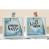Preisvergleich für 1 x Spardose Reise Weltreise m. Sichtfenster Höhe 17 cm, Sparen, Geld, Geschenk (Weltreise (Stückpreis))