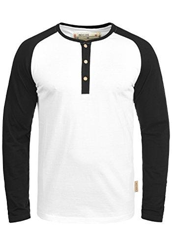 Indicode Winston Herren Longsleeve mit Grandad- Ausschnitt aus hochwertiger Baumwollmischung in Melange-Optik, Größe:L, Farbe:White Black (9995)
