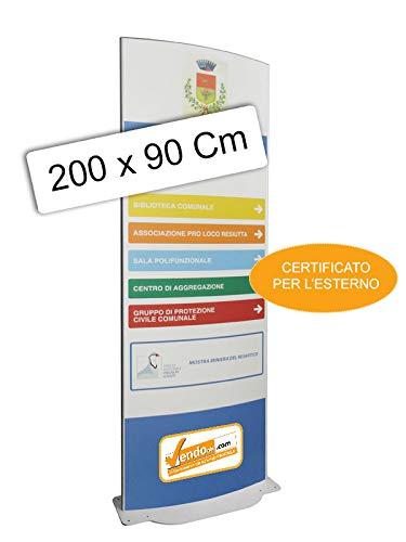 TOTEM PUBBLICITARIO BIFACCIALE DA TERRA CERTIFICATO DA ESTERNO H 200 L 90 CM