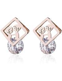 0ed17c11cdf8 Earrings Home Pendientes del Perno Prisionero Femenino Creativo de Acero de  Titanio Hueco Redondo Clip de circón de Acero de Titanio…