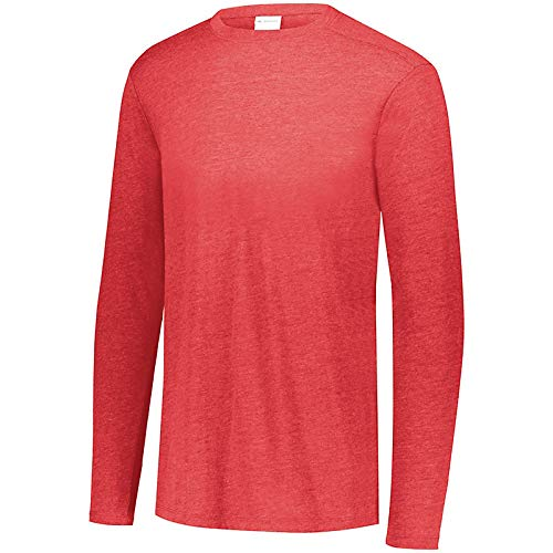 Augusta Sportswear Jungen Boys Tri-Blend Long Sleeve Crew Langärmelig, Rot meliert, Medium