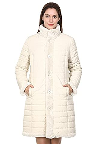 Adelaqueen Women's New Style Beige Winter Reversible Down Coat Fabulous Faux Fur Coat Size L