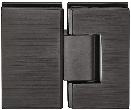 Moderner Glastürbeschlag Duschtürband für Glastüren und Duschkabinen - H2048 | Glastürband für Wand zu Glas Verbindung | Bad-Türscharnier für 180 ° Glasfront | 1 Stück - Messing Türband schwarz