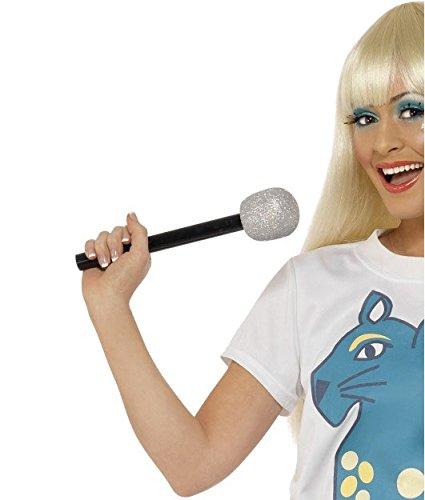Mikrofon glitzer silber Kunststoff