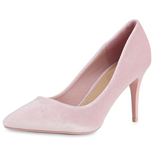 Spitze Damen Schuhe Pumps Samtoptik Stilettos Lack Party Rosa 40 Jennika