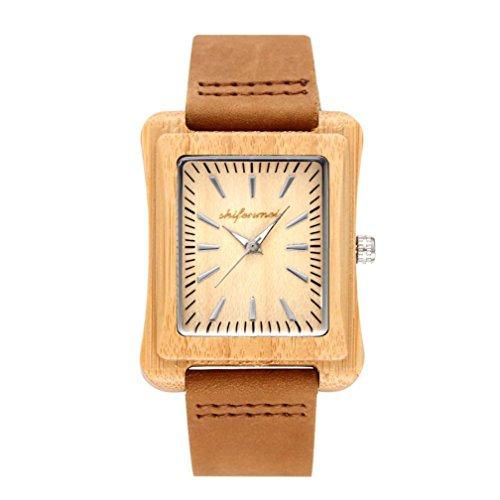 Uhren FORH Unisex Analoge Quarzuhr Minimalismus Leder Uhrenarmband Mode Quadratisches Zifferblatt Armbanduhr Wooden Uhren Fit Geburtstagsgeschenk (Braun)