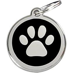 MEDAILLE CHIEN empreinte patte pour chien MINI ou TOY ou CHAT 2 CM - inox et couleur émail - Gravure OFFERTE. - red dingo