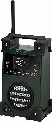 Radio para obras Taller Radio Diseño Radio Fuente batería AUX-IN exterior radio portátil USB (antigolpes, salpicaduras, pantalla LCD, IPX4, asa)
