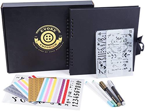 Evoke Emporium Scrapbook Fotoalbum, DIY/Familie / Jahrestag/Hochzeit / Baby/Reise Scrapbook + Scrapbooking Zubehör + Aufbewahrungsbox (britische Marke) Schwarz