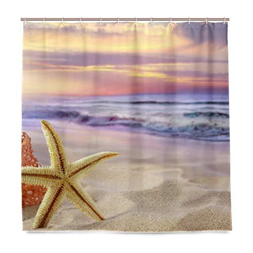 vinlin Tropischer Strand Seestern Wasserdicht Badezimmer Zubehör Vorhang für die Dusche Badewanne Vorhang 182,9x 182,9cm
