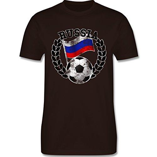 EM 2016 - Frankreich - Russia Flagge & Fußball Vintage - Herren Premium T-Shirt Braun