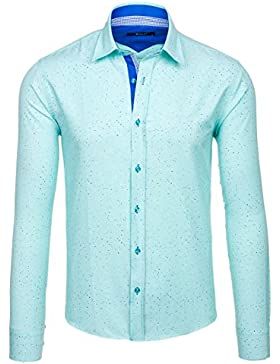 BOLF Camicia – A Manica Lunga – Button–Down – A Bottoni – Slim Fit – da Uomo 2B2