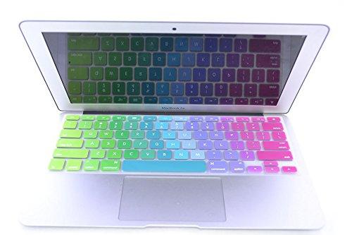 SwirlColor Englisch Stilvoller Regenbogen-Tastatur-Abdeckungs-Schutz-Silikon-Haut für MacBook 13