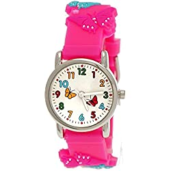 Cute Pure Time Children's Watch-Kids Silicone Bracelet Watch with Butterfly Design Pink + Watch Box